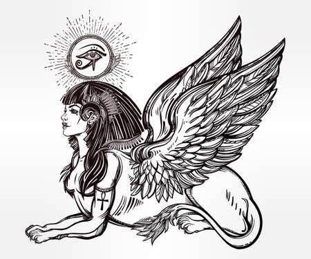 ojo de horus: Sphinx, antigua bestia. criatura m�tica con la cabeza de humano, cuerpo de le�n y alas, con el ojo de Ra, el dios Horus - anj. S�mbolo de la sabidur�a. ilustraci�n vectorial aislados en el estilo de la l�nea de arte.