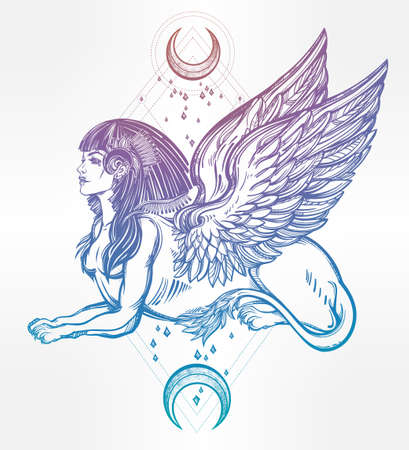 beast creature: Sphinx, beautiful ancient beast with crescent moons. Mythical creature with head of human, body of lion and wings. Symbol of goddess of wisdom. Isolated vector illustration in line art style.