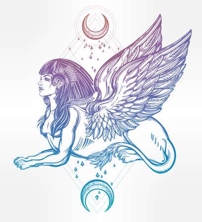 esfinge: Sphinx, bestia hermosa antigua con medias lunas. criatura mítica con la cabeza de humano, cuerpo de león y alas. Símbolo de la diosa de la sabiduría. ilustración vectorial aislados en el estilo de la línea de arte. Vectores