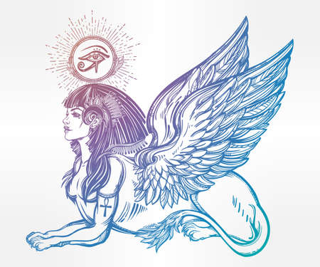 horus: Sphinx, ancient beast. Mythical creature with head of human, body of lion and wings, with the eye of god Ra Horus - ankh. Symbol of wisdom. Isolated vector illustration in line art style.