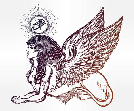 beast creature: Sphinx, ancient beast. Mythical creature with head of human, body of lion and wings, with the eye of god Ra Horus - ankh. Symbol of wisdom. Isolated vector illustration in line art style.