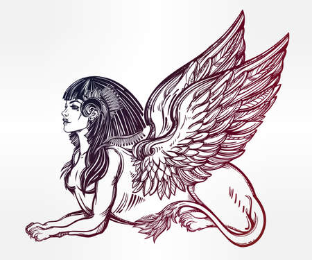beast creature: Sphinx, beautiful ancient beast. Mythical creature with head of human, body of lion and wings. Symbol of goddess of wisdom. Isolated vector illustration in line art style.