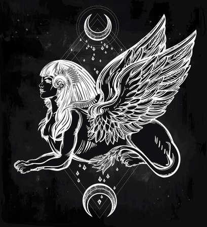 leon con alas: Sphinx, bestia hermosa antigua con medias lunas. criatura mítica con la cabeza de humano, cuerpo de león y alas. Símbolo de la diosa de la sabiduría. ilustración vectorial aislados en el estilo de la línea de arte. Vectores
