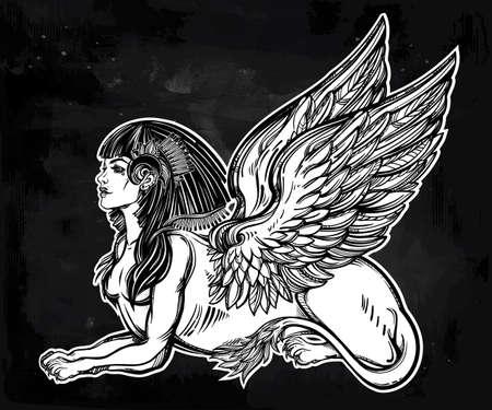 winged lion: Sphinx, bella bestia antigua. criatura mítica con la cabeza de humano, cuerpo de león y alas. Símbolo de la diosa de la sabiduría. ilustración vectorial aislados en el estilo de la línea de arte.