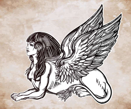 creature: Sphinx, beautiful ancient beast. Mythical creature with head of human, body of lion and wings. Symbol of goddess of wisdom. Isolated vector illustration in line art style.