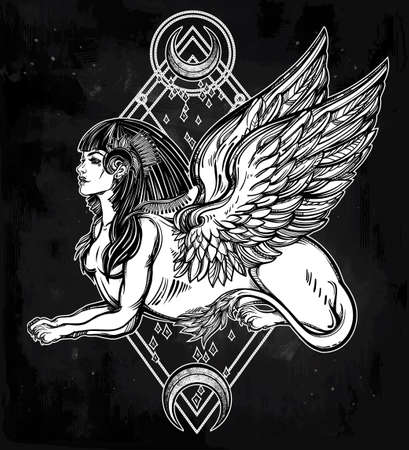 lion with wings: Sphinx, beautiful ancient beast with crescent moons. Mythical creature with head of human, body of lion and wings. Symbol of goddess of wisdom. Isolated vector illustration in line art style.