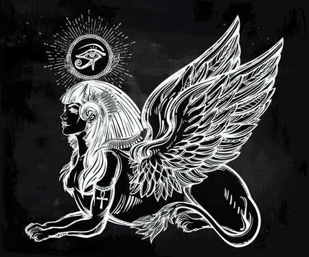 ojo de horus: Sphinx, antigua bestia. criatura mítica con la cabeza de humano, cuerpo de león y alas, con el ojo de Ra, el dios Horus - anj. Símbolo de la sabiduría. ilustración vectorial aislados en el estilo de la línea de arte.