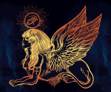 winged lion: Sphinx, antigua bestia. criatura mítica con la cabeza de humano, cuerpo de león y alas, con el ojo de Ra, el dios Horus - anj. Símbolo de la sabiduría. ilustración vectorial aislados en el estilo de la línea de arte.