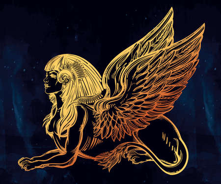 wisdom: Sphinx, beautiful ancient beast. Mythical creature with head of human, body of lion and wings. Symbol of goddess of wisdom. Isolated vector illustration in line art style.
