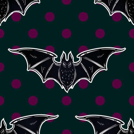 vampire bats: Seamless Halloween pattern. Halloween bats. Hand drawn holiday symbols. Isolated vector illustration.