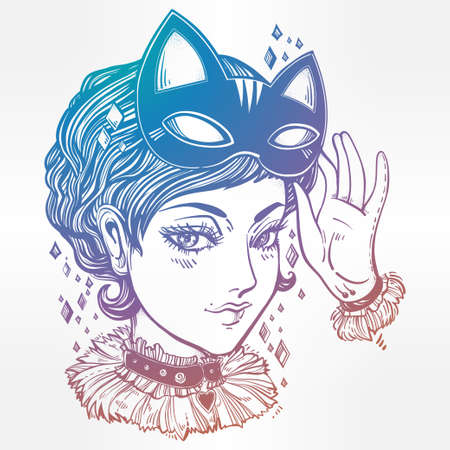 manga style: Beautiful anime or retro manga style poster of a woman with a cat mask. Girl dressed in headband with kitten ears. Magic, fantasy, tattoo art, coloring books. Isolated vector illustration.