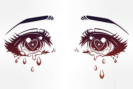 anime eyes: Crying beautiful eyes in anime or manga style with teardrops and light reflections. Highly detailed vector illustration. Emotional expression, sadness, tattoo art. Trendy print. Illustration