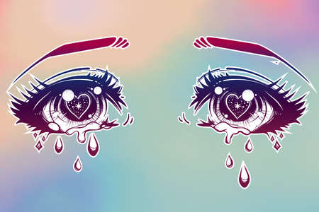 manga style: Crying beautiful eyes in anime or manga style with teardrops and light reflections. Highly detailed vector illustration. Emotional expression, sadness, tattoo art. Trendy print. Illustration