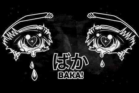 fool: Crying eyes in anime or manga style with teardrops and reflections. Japanese word Baka ?? in hiragana writing system, means fool. Highly detailed vector illustration. Trendy print, anger expression.