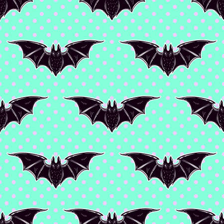gothic style: Seamless Halloween pattern. Halloween bats. Hand drawn holiday symbols. Isolated vector illustration. Cute gothic style art.