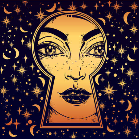 extraordinary: Beautiful girl peeping through the keyhole. Graphic outline drawing in Noir retro style with dreamy stars, moons on the background. Isolated vector illustration.Trendy print.