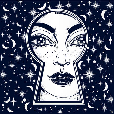 noir: Beautiful girl peeping through the keyhole. Graphic outline drawing in Noir retro style with dreamy stars, moons on the background. Isolated vector illustration.Trendy print.