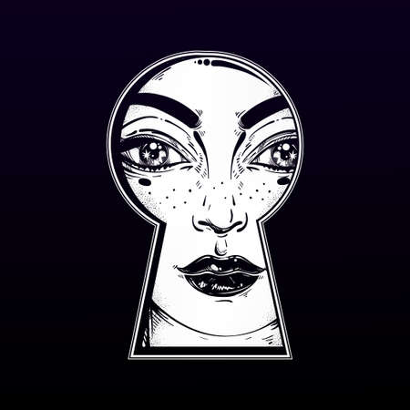 Beautiful girl peeping through the keyhole. Graphic outline drawing in Noir retro style. Isolated vector illustration. Vintage, t-shirt, secrets, tattoo, coloring books. Trendy print. Illustration