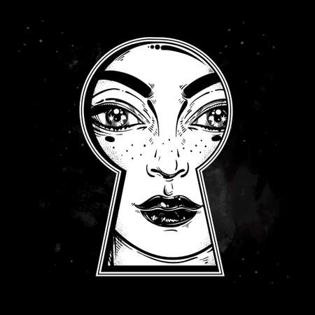 noir: Beautiful girl peeping through the keyhole. Graphic outline drawing in Noir retro style. Isolated vector illustration. Vintage, t-shirt, secrets, tattoo, coloring books. Trendy print. Illustration