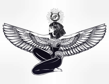 priestess: Egyptian diety Isis with outstratched wings. Isis is goddess of health, magic, and love. In Mesopotamian religion her name is Tiamat. Spirituality, occultism, tattoo art. Isolated vector illustration. Illustration