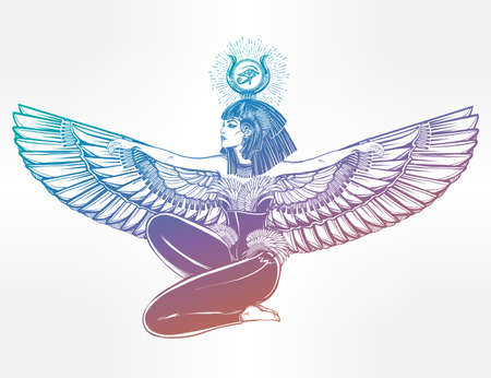 egyptian pyramids: Egyptian diety Isis with outstratched wings. Isis is goddess of health, magic, and love. In Mesopotamian religion her name is Tiamat. Spirituality, occultism, tattoo art. Isolated vector illustration. Illustration