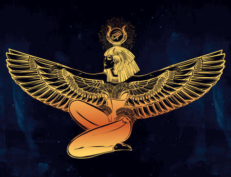 horus: Egyptian diety Isis with outstratched wings. Isis is goddess of health, magic, and love. In Mesopotamian religion her name is Tiamat. Spirituality, occultism, tattoo art. Isolated vector illustration. Illustration