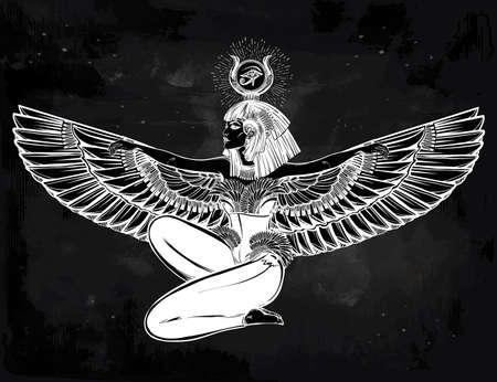 vector art: Egyptian diety Isis with outstratched wings. Isis is goddess of health, magic, and love. In Mesopotamian religion her name is Tiamat. Spirituality, occultism, tattoo art. Isolated vector illustration. Illustration
