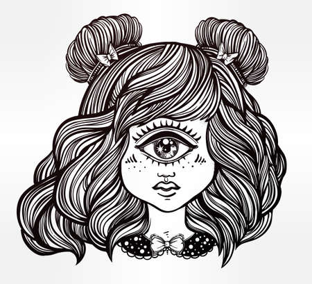 hair coloring: Cute cyclops monster girl. Portrait of young beautiful lady with one eye and lovely hair for t-shirt design or post card. Fashion sketch vector illustration. Weird gothic art. Halloween. Illustration