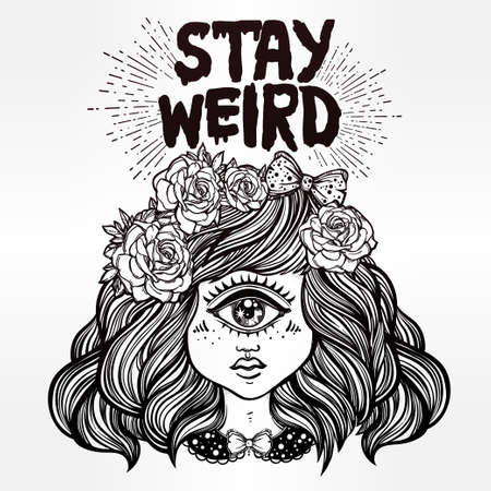 wierd: Cute cyclops monster girl. Portrait of beautiful lady with one eye and lovely roses for t-shirt design or post card. Stay weird. Hand drawn lettering inspirational quote. Isolated vector illustration.