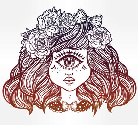 one eyed: Cute cyclops monster girl. Portrait of young beautiful lady with one eye and roses in her hair for t-shirt design or post card. Fashion sketch vector illustration. Weird gothic art. Halloween. Illustration