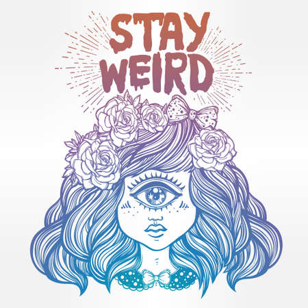 cyclops: Cute cyclops monster girl. Portrait of beautiful lady with one eye and lovely roses for t-shirt design or post card. Stay weird. Hand drawn lettering inspirational quote. Isolated vector illustration.