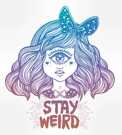 cyclops: Cute cyclops monster girl. Portrait of beautiful lady with one eye and lovely hair for t-shirt design or post card. Stay weird. Hand drawn lettering inspirational quote. Isolated vector illustration. Illustration