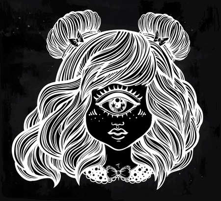 Cute cyclops monster girl. Portrait of young beautiful lady with one eye and lovely hair for t-shirt design or post card. Fashion sketch vector illustration. Weird gothic art. Halloween. Illustration