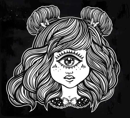 one eye: Cute cyclops monster girl. Portrait of young beautiful lady with one eye and lovely hair for t-shirt design or post card. Fashion sketch vector illustration. Weird gothic art. Halloween. Illustration