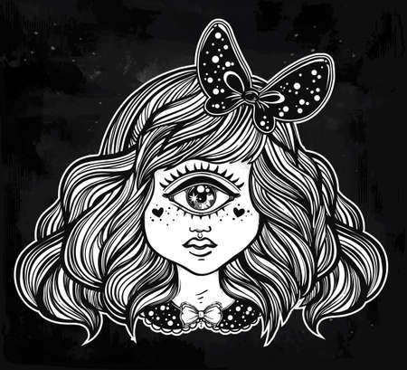 black hair: Cute cyclops monster girl. Portrait of young beautiful lady with one eye and lovely hair with a ribbon for t-shirt design or post card. Fashion sketch vector illustration. Weird gothic art. Halloween.