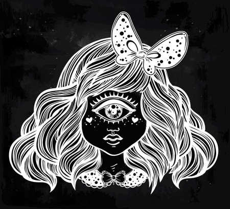 cyclops: Cute cyclops monster girl. Portrait of young beautiful lady with one eye and lovely hair with a ribbon for t-shirt design or post card. Fashion sketch vector illustration. Weird gothic art. Halloween.