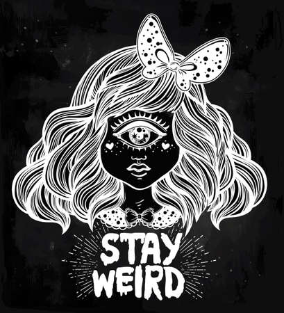 one eyed: Cute cyclops monster girl. Portrait of beautiful lady with one eye and lovely hair for t-shirt design or post card. Stay weird. Hand drawn lettering inspirational quote. Isolated vector illustration. Illustration