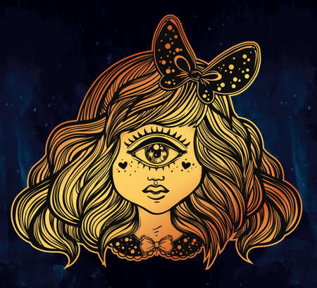 one eyed: Cute cyclops monster girl. Portrait of young beautiful lady with one eye and lovely hair with a ribbon for t-shirt design or post card. Fashion sketch vector illustration. Weird gothic art. Halloween.