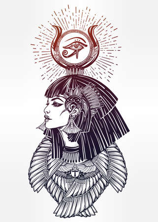 horus: Portrait of a beautiful egyptian goddess or princess. Cleoptra or Nefertiti with winged necklace and god Ra crown on her head. Spirituality, occultism, tattoo art. Isolated vector illustration. Illustration