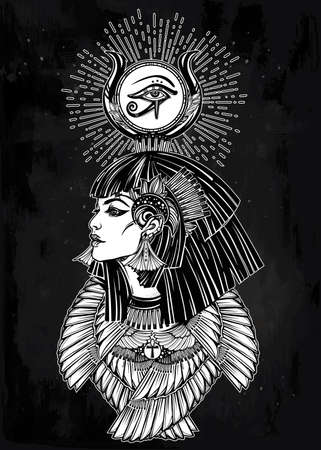 egyptian pharaoh: Portrait of a beautiful egyptian goddess or princess. Cleoptra or Nefertiti with winged necklace and god Ra crown on her head. Spirituality, occultism, tattoo art. Isolated vector illustration. Illustration