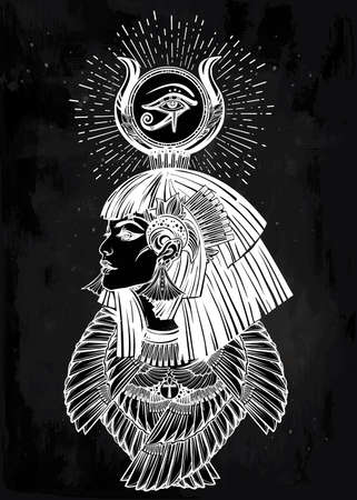 priestess: Portrait of a beautiful egyptian goddess or princess. Cleoptra or Nefertiti with winged necklace and god Ra crown on her head. Spirituality, occultism, tattoo art. Isolated vector illustration. Illustration