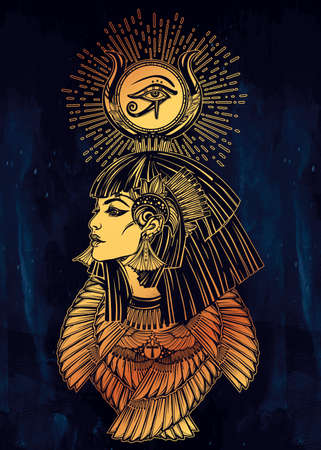 queen of angels: Portrait of a beautiful egyptian goddess or princess. Cleoptra or Nefertiti with winged necklace and god Ra crown on her head. Spirituality, occultism, tattoo art. Isolated vector illustration. Illustration