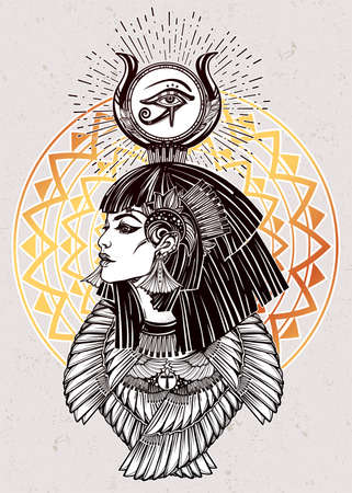 cleopatra: Portrait of a beautiful egyptian goddess or princess. Cleoptra or Nefertiti with winged necklace and god Ra crown on her head. Spirituality, occultism, tattoo art. Isolated vector illustration. Illustration