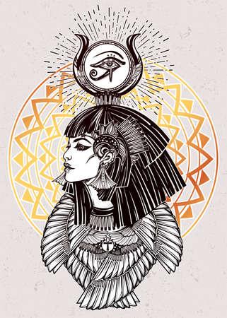 horus: Retrato de una hermosa diosa egipcia o una princesa. Cleoptra o Nefertiti con el collar de alas y el dios Ra corona en la cabeza. Espiritualidad, el ocultismo, el arte del tatuaje. ilustración del vector.
