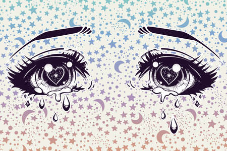 manga style: Crying beautiful eyes in anime or manga style with teardrops and light reflections on starry background. Highly detailed vector illustration. Emotional expression, sadness, tattoo art. Trendy print.