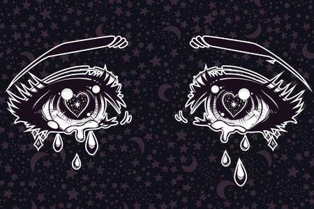 schöne augen: Weinen schöne Augen in Anime oder Manga-Stil mit teardrops und Lichtreflexionen auf starry Hintergrund. Sehr detaillierte Vektor-Illustration. Emotional Ausdruck, Traurigkeit, Tattoo-Kunst. Trendy Druck. Illustration