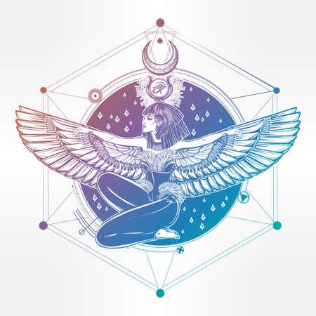 Egyptian diety Isis mit outstratched Flügeln. Isis ist die Göttin der Gesundheit, Magie und Liebe. In mesopotamischen Religion ist ihr Name Tiamat. Spiritualität, Okkultismus, Tattoo-Kunst. Isolierte Vektor-Illustration.