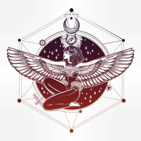 occultism: Egyptian diety Isis with outstratched wings. Isis is goddess of health, magic, and love. In Mesopotamian religion her name is Tiamat. Spirituality, occultism, tattoo art. Isolated vector illustration. Illustration