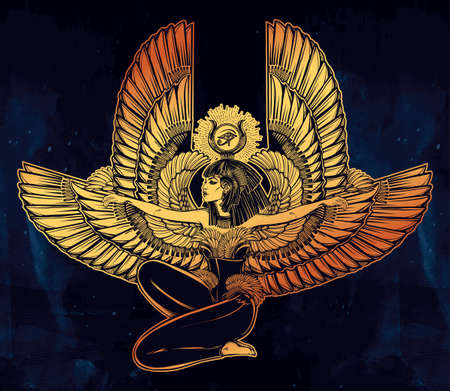 nefertiti: Egyptian diety Isis with outstratched wings. Isis is goddess of health, magic, and love. In Mesopotamian religion her name is Tiamat. Spirituality, occultism, tattoo art. Isolated vector illustration. Illustration