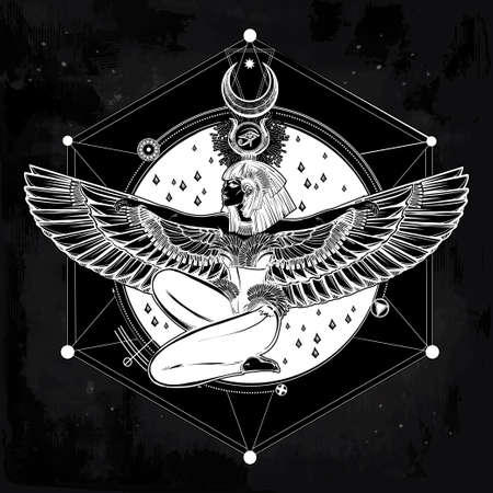 ankh: Egyptian diety Isis with outstratched wings. Isis is goddess of health, magic, and love. In Mesopotamian religion her name is Tiamat. Spirituality, occultism, tattoo art. Isolated vector illustration. Illustration